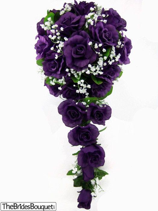 TheBridesBouquet.com - Purple Silk Rose Cascade - Bridal Wedding Bouquet, $39.99 (http://www.thebridesbouquet.com/purple-silk-rose-cascade-bridal-wedding-bouquet/)