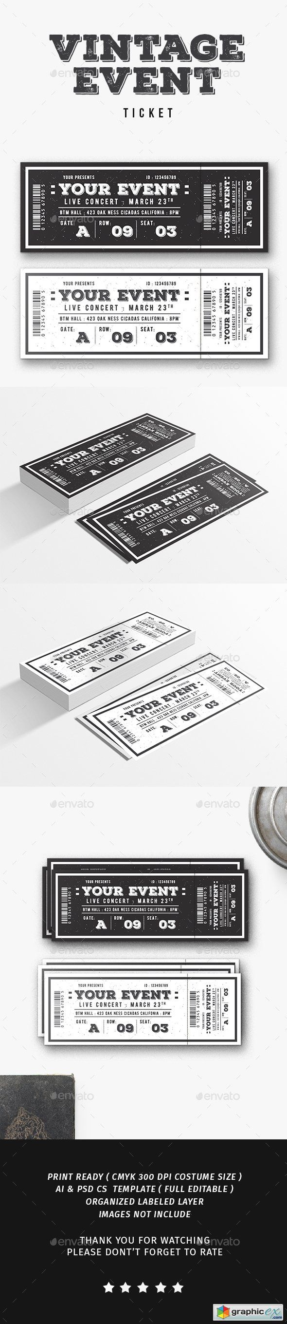 Vintage Event Ticket  stock images