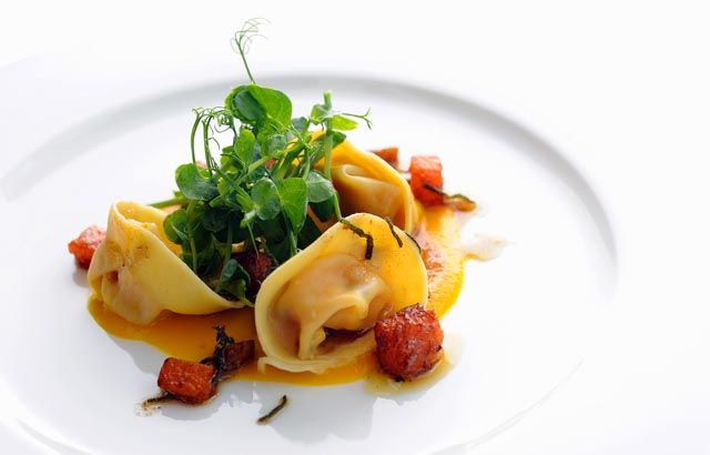 Pumpkin tortellini with chestnuts and a sage beurre noisette by Stephen Crane@Great British Chefs