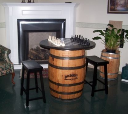 Superb Jack Daniels Whiskey Barrel Table With Chess Set And 2 Black Saddle Stools    EBay