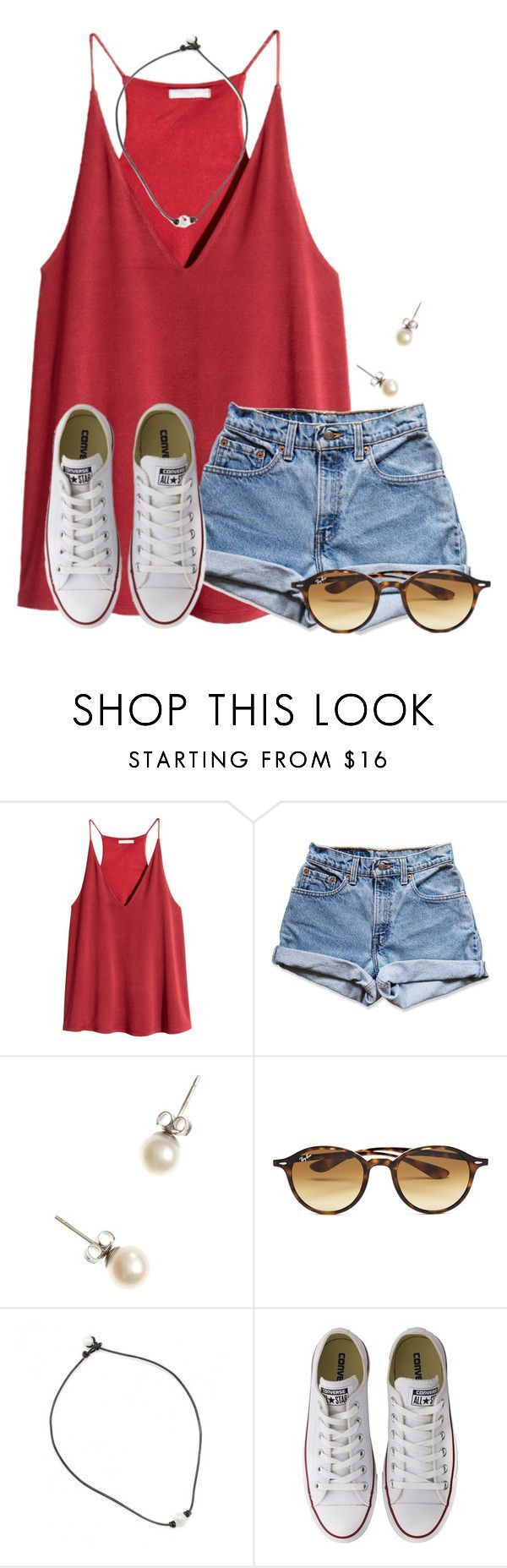 """""""~the weekend is near~"""" by flroasburn ❤ liked on Polyvore featuring H&M, Levi's, J.Crew, Ray-Ban and Converse"""