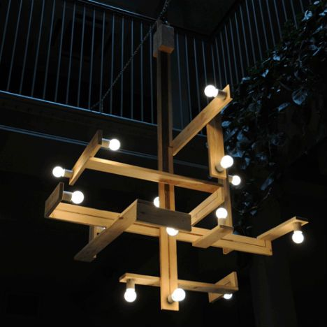 amazing chandelier made from pallets