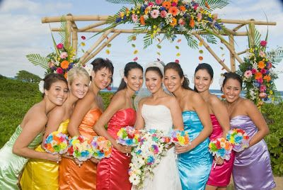 Multi color Bridesmaid Dresses and wedding flowers