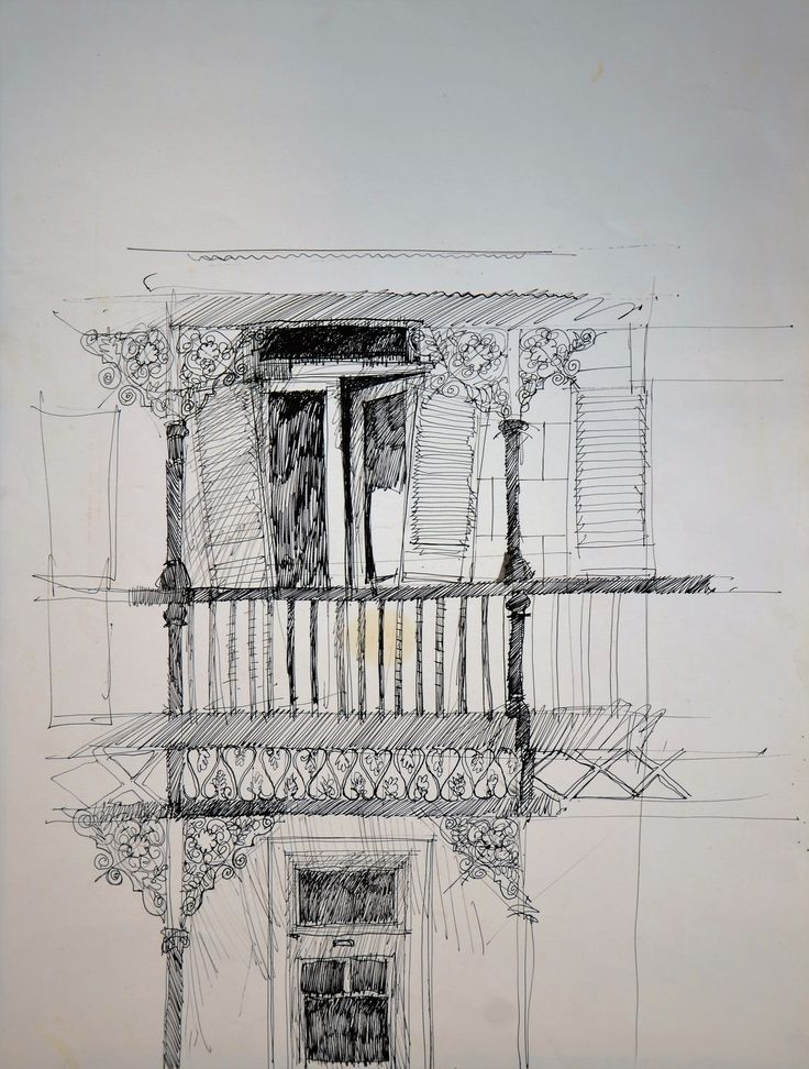 delapidated balcony in Oranjezicht Cape Town. 1974. Speedball pen and indian ink on A2 cartridge.