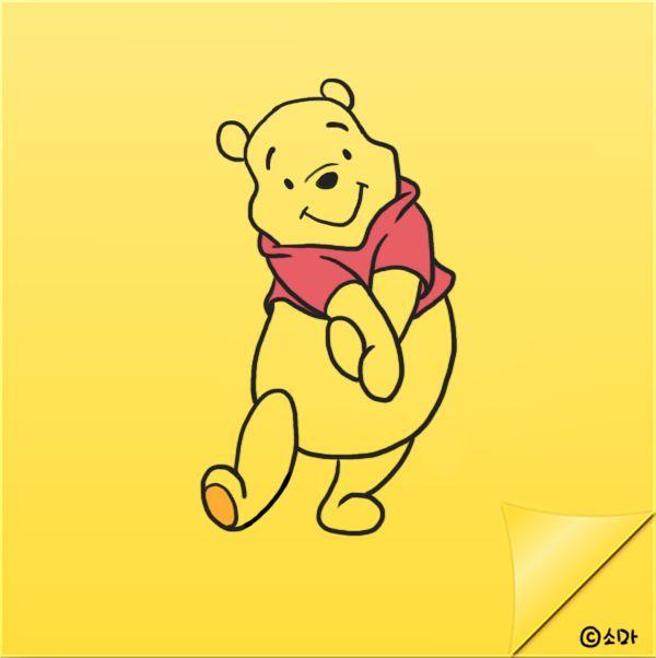 하루한장 포스트잇에 그리는 초간단 손그림! NO.22_곰돌이 푸우 그리기