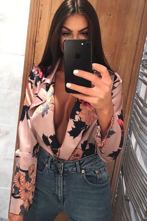 Rose Flower Print Plunge Satin Bodysuit - Madelynn