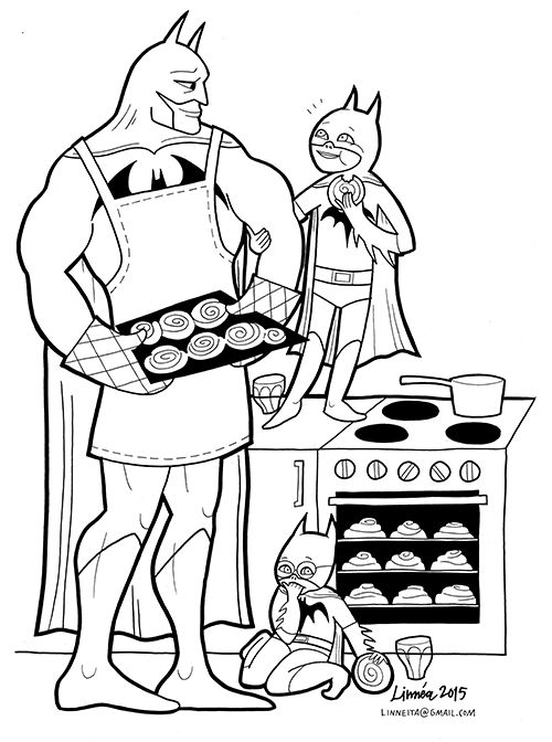 Ten Super-soft heroes.  The superheroes are emotional and complex characters, the problem is that in the kids editions they show only aggression and violence. Here is an alternative. This coloring book is a free pdf download. There´s also one with princess´.