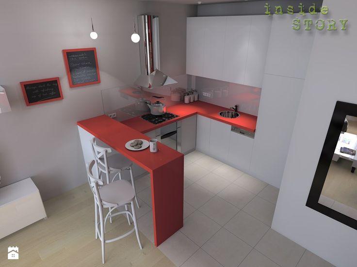 mała nowoczesna kuchnia w kawalerce z czerwonymi detalami