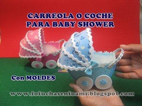 CARREOLA O COCHE PARA BABY SHOWER EN FOAMY O GOMAEVA CON MOLDES