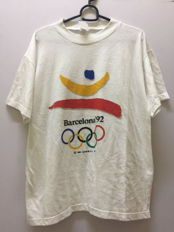 Olympic Barcelona Mens Shirt Medium Olympic Games Barcelona T Shirt Men's Size M by MudeanDean