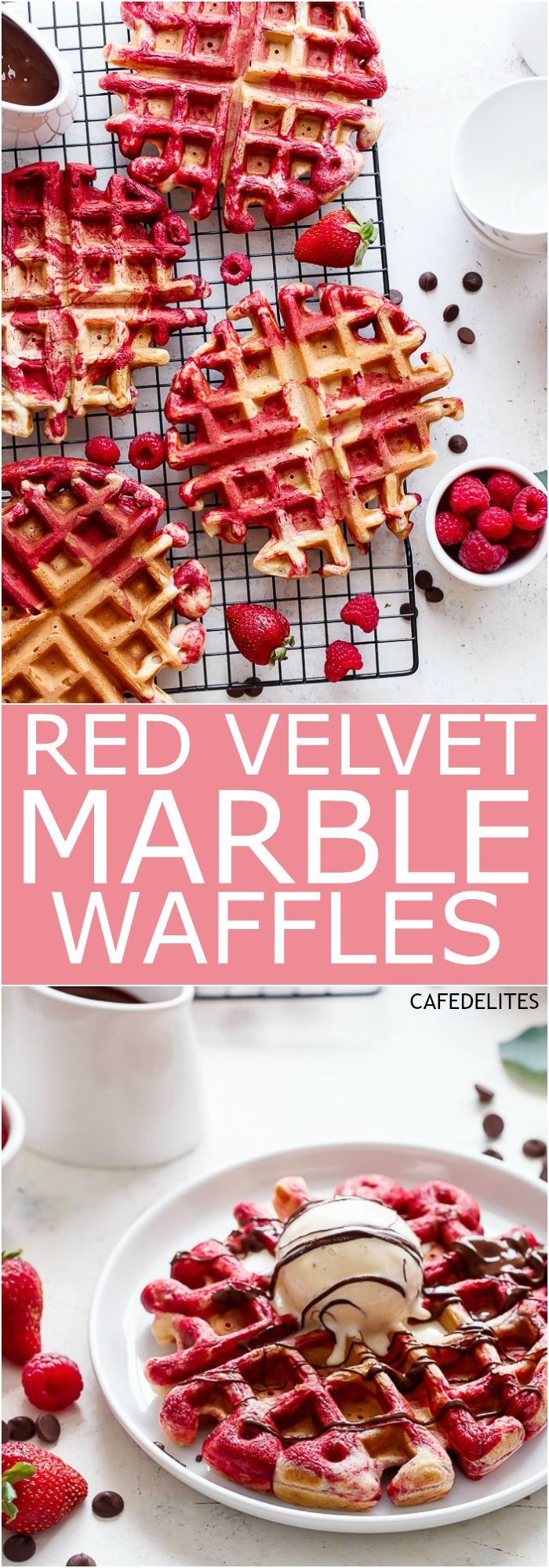Red Velvet Marbled Waffles (or Valentine's Day Waffles) made healthier with Greek Yogurt are absolutely incredible! Drizzled in melted chocolate and top with ice cream for extra indulgence! | http://cafedelites.com