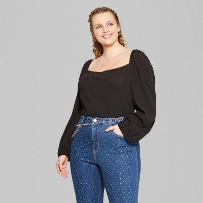 """ebd51e947c37bb Women's Plus Size Square Neck Off the Shoulder Top - Wild Fableâ""""?20Black  1X #Square, #Neck, #Women"""