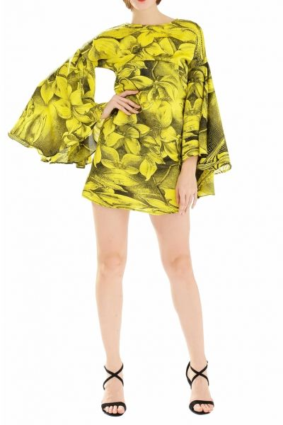 Sweet Foliage Print Shift Dress with Bell Sleeves