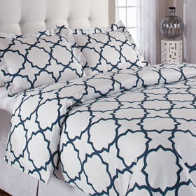 Quatrefoil bedding in blue and white $89.00 King duvet cover