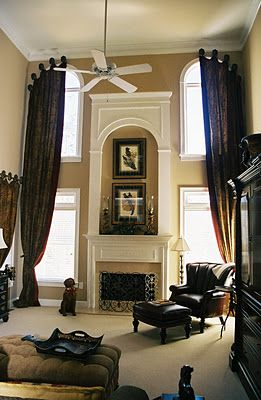 Tall Windows, Arched Windows, Tall Ceilings, Fireplace Ideas, Fireplace  Mantel, Two Story Fireplace, Living Room Curtains, Living Rooms, Curtain  Ideas, ...