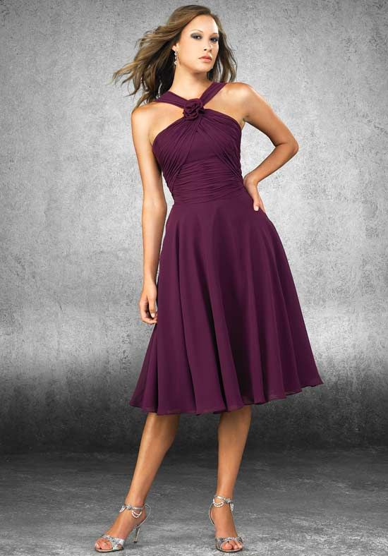 2013 High Wasitline Chiffon Satin Grape Bridesmaid Gowns with A Flower and Tea-Length