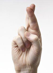 Gekruiste vingers is een gebaar dat men gebruikt om iemand die voor een uitdaging staat succes te bezorgen of te wensen.  Het gebaar bestaat eruit om wijs- en middelvinger van een hand gekruist over elkaar te houden.  Het gebaar heeft dezelfde gevoelswaarde als duimen en stamt uit de angelsaksische traditie. Toch heeft het gebaar ook in de Nederlandstalige landen vaste voet aan de grond gekregen, met name doordat de Engelse uitdrukking Let's keep fingers crossed grote bekendheid geniet.