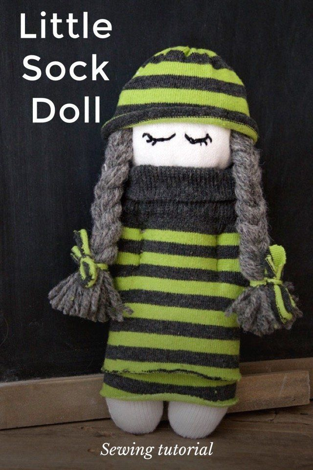 Little Sock Doll Sewing tutorial As a follow on to our No sew Sock Penguin we have this cute as a button Sock Doll. She is also completely made from socks. Our Sock Doll does require some hand sewing, making it is a great project to move on to after our Penguin. #Sockdolls