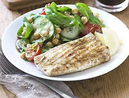 Fish with chickpea spinach salad   Yummy   Pinterest