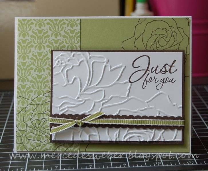 .: Folder Ideas, Flower Embossing, Cards Ideas, Embossing Folder, Cardsal Occa, Cards Al Occa, Avenue Floral, Paper Crafts, Dry Embossing