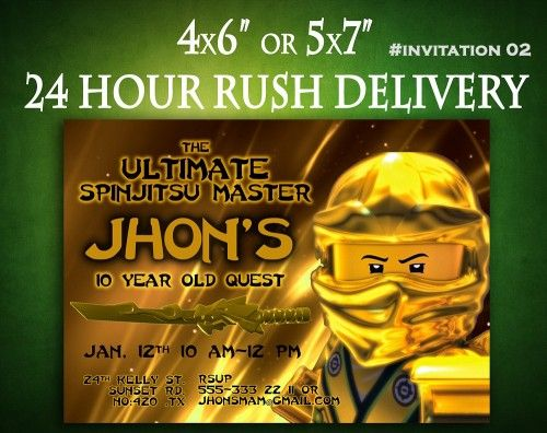 Ninjago Birthday Invitation Digital Printable   This is a listing for digital printable invitation, no physical invitation will be sent! While making the purchase please write the information below at