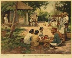 Muskaatnotenbedrijf op de Banda-eilanden, schoolplaat, ca. 1940