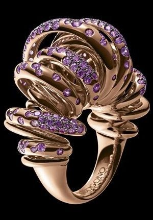 A highly sculptural rose gold ring set with amethysts by de Grisogono.