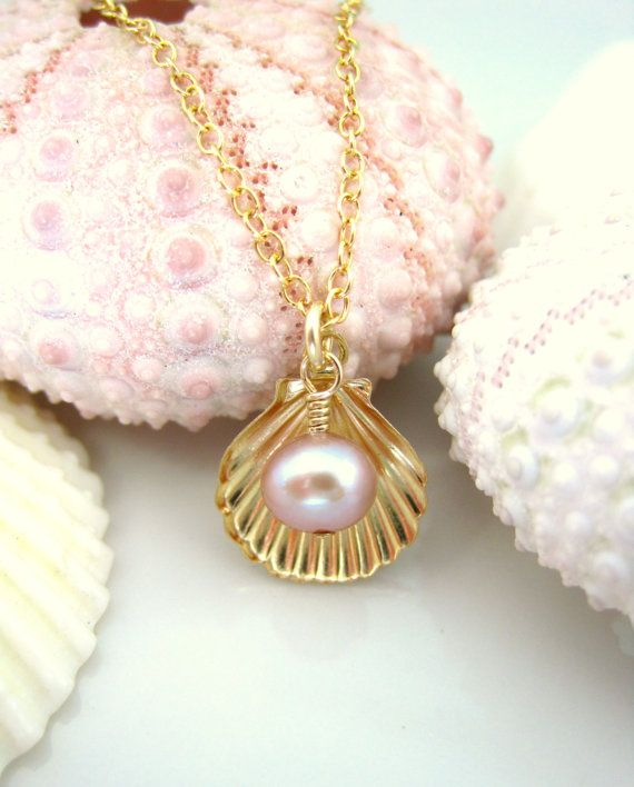 Perfect mermaid necklace! Gold sea shell rose pearl charm necklace gold shell by KBlossoms, $38.00