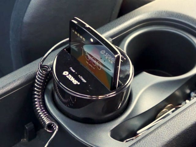 ZENS Qi Cup Holder Wireless Charger puts a wireless Qi charger into your car for conveniently charging your phone. GetdatGadget.com