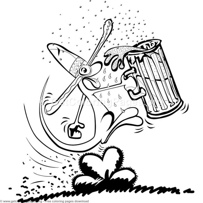 Creature Drinking Beer Coloring Pages Free Instant Download Coloring Coloringbook Coloringpages Mexico Coloring Pages Free Coloring Pages Scrapbook Images