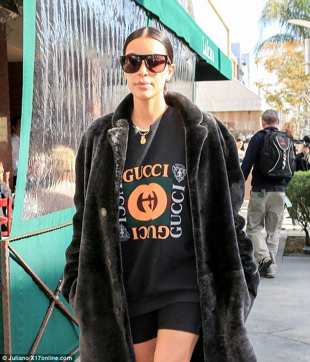 Ready to ride: The 36-year-old wore an on-trend Gucci sweatshirt with black bike shorts