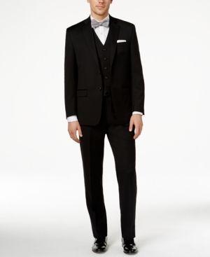 Lauren Ralph Lauren Solid Black Pure Wool Classic-Fit Vested Suit  - Black