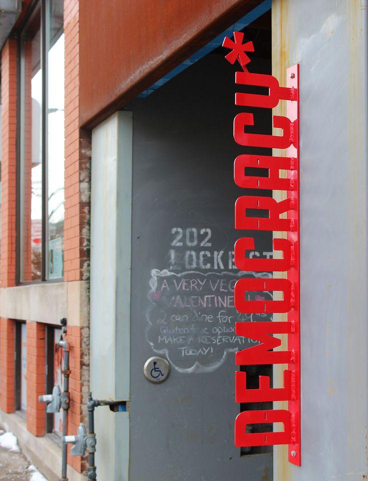 Democracy Coffee House on Locke Street in Hamilton, Ontario, Canada - Vegetarian, vegan, gluten-free friendly!