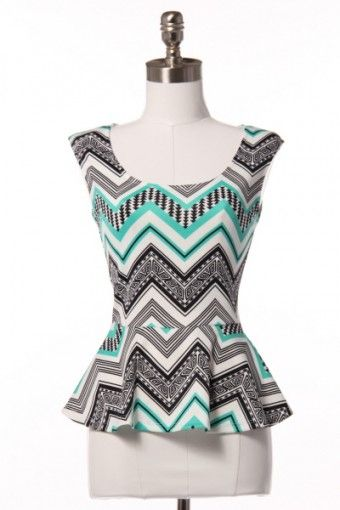 chevron-peplum-top With a black pencil skirt and blazer either black or maybe coral/orange!