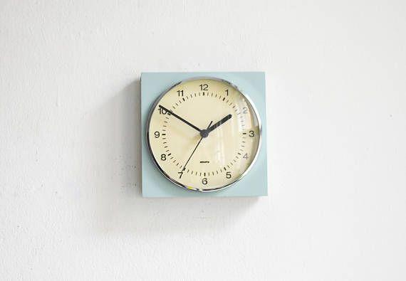 Vintage Krups clock orange wall clock West German clock