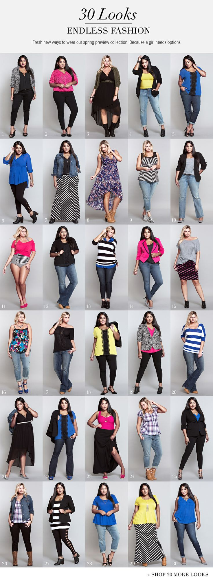 30 days of outfits - part 2! Because we girls have to have options... #ShopByOutfit #TorridSpring