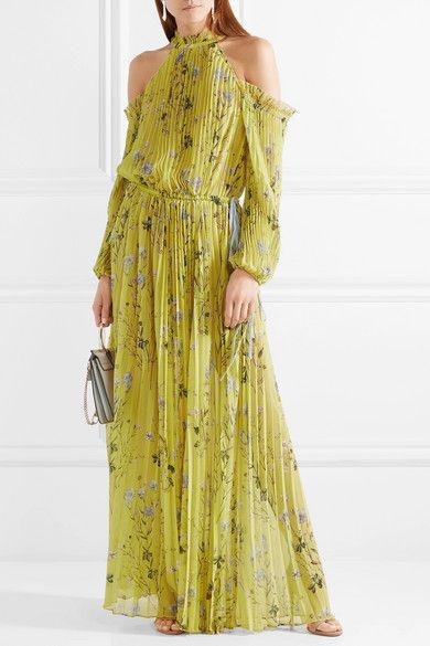 d913b628680932 Self-Portrait - Cold-shoulder Printed Pleated Chiffon Maxi Dress - Yellow