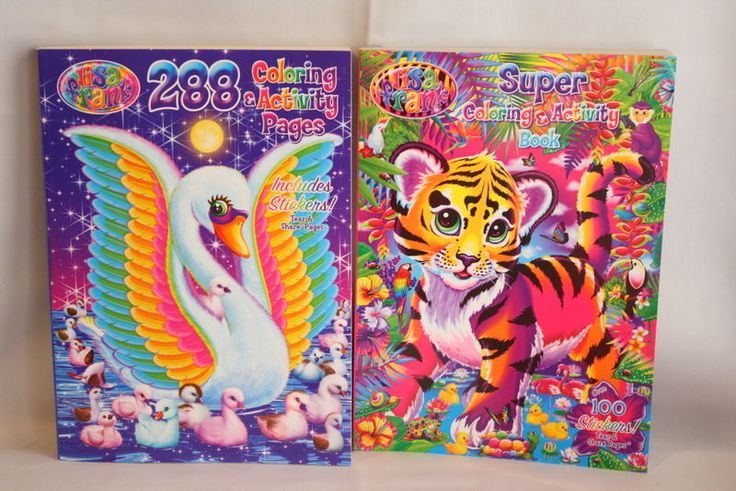 2 Lisa Frank Super Coloring & Activity Coloring Books Including Stickers