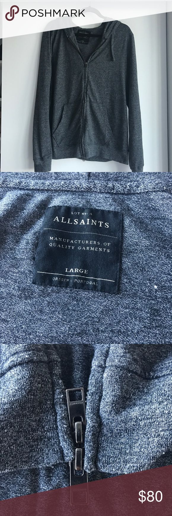 All Saints Dark Grey Hoody Women Large All Saints Hoody, like new condition, size large. I wear it as a boyfriend hoodie - super comfortable material (on the thinner side - good for lounge wear). Double zipper. Retails for $195+ tax. Selling to clear out wardrobe for 2017. All Saints Jackets & Coats