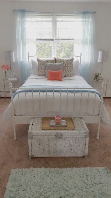 End Tables From Ross Bed From Ikea Pillows From HomeGoods Grey Pillow Was A  DIY DIY Chest From Thrift Shop (painted) Tray ...