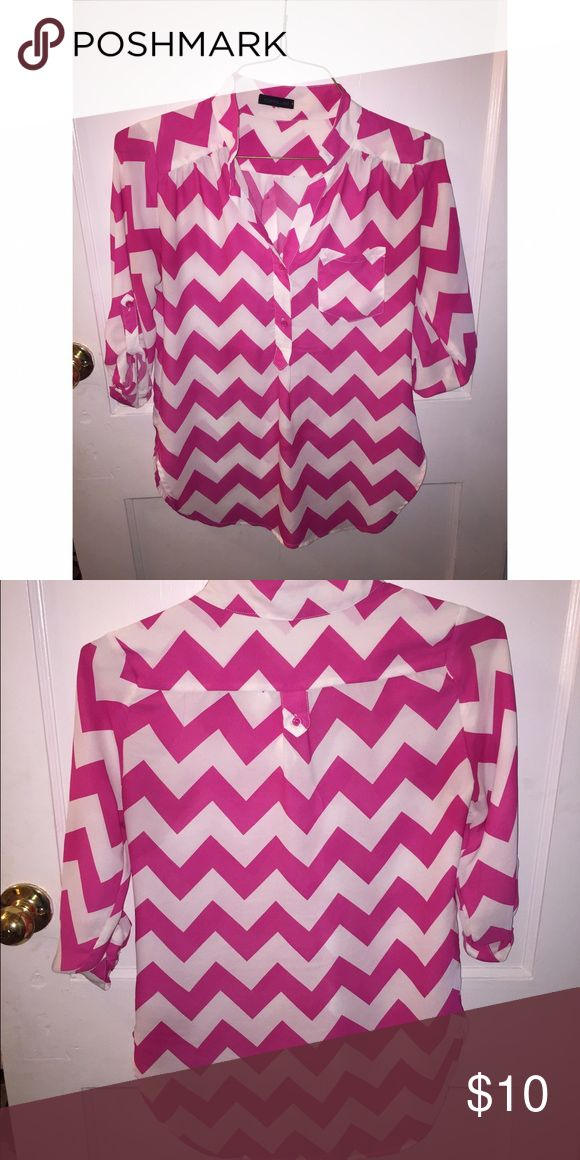Chevron blouse Size small Pink and white chevron blouse Tops Blouses