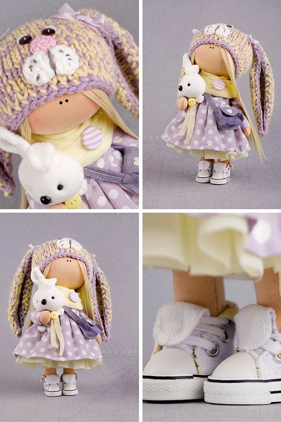 Nursery decor doll Tilda doll Interior doll Art doll blonde grey purple colors…