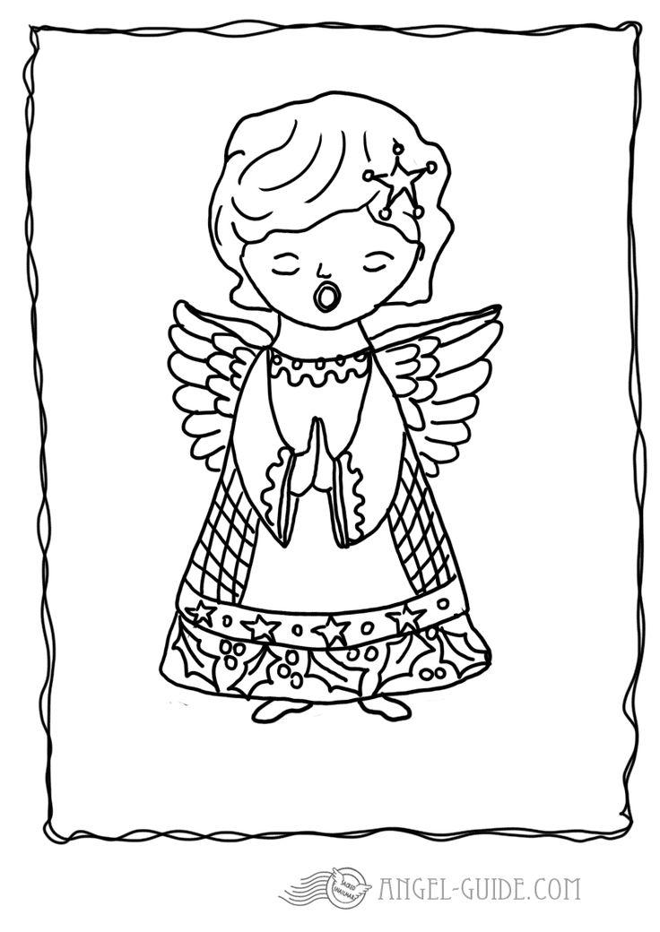 Angel Christmas Coloring Picture of Singing Angel 9 a little singing angel , praying angel that is holding a festive tune for our german visitors : kostenlose Malvorlagen mit Engeln, Weihnachtsausmalbilder fuer Kinder zum Herunterladen Ausmalbild mit Engel zum Weihnachtsbasteln, Bastelvorlage, Engel Vorlage zum ausdrucken