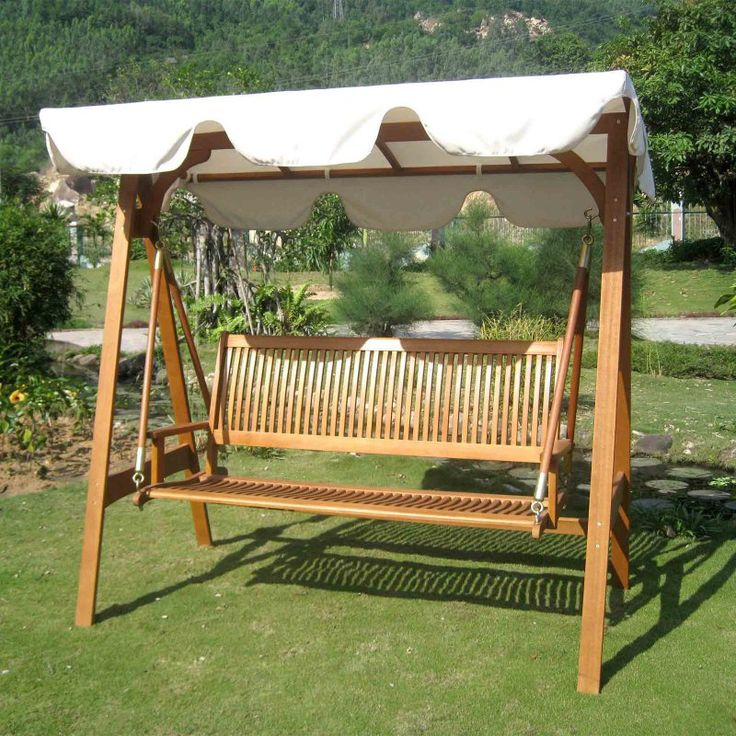 International Caravan Royal Tahiti 3 Seater Patio Swing with Frame and Canopy - TT-SW-006-3-AF-CP