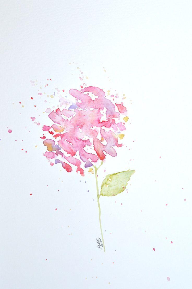 Watercolor Hydrangea Painting €� Original Watercolor Art, Unmounted,  Nursery, Wall Decor, Home Decor, Flower Paintings  By Mabartstudio