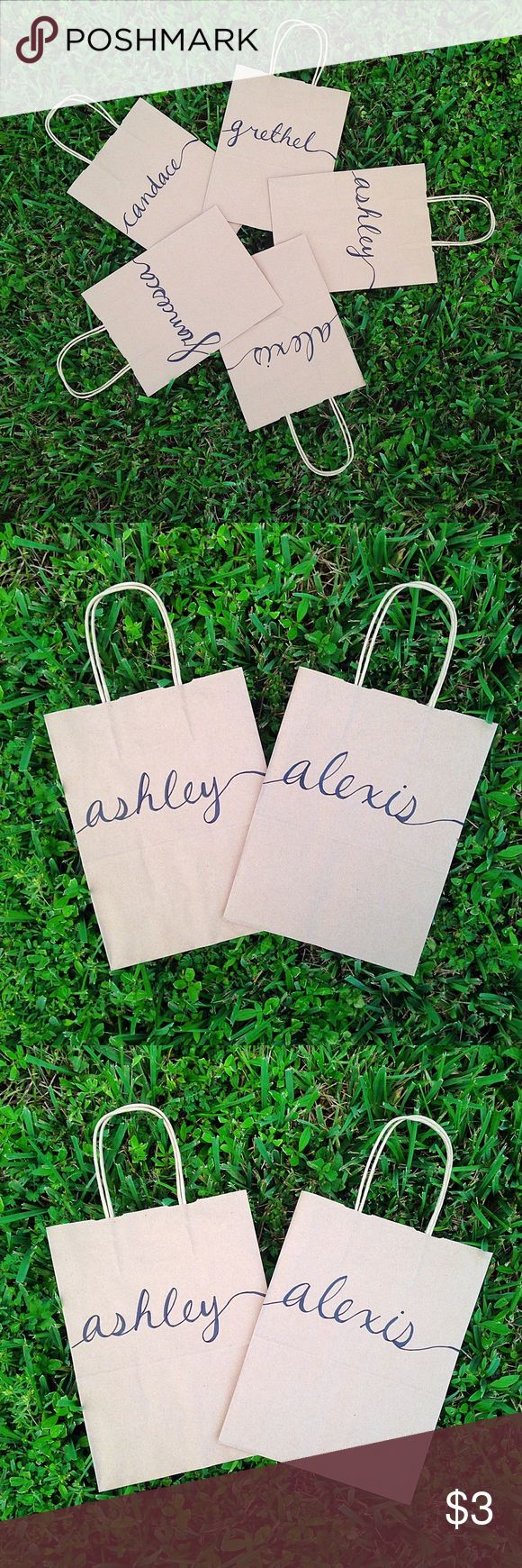 Personalized Gift Bags ❁ Brown custom personalized gift bags! Measures 10.5x8x4.5, I can do any names/phrases! These are great for bridesmaids, wedding welcome bags, bachelorette parties, bridal showers, thank you gifts, Christmas presents, birthdays, & much more!! Minimum order of 2 bag required & orders of large quantities will be discounted ♡ Please comment below if you would like a custom listing made for you ❁ Bags