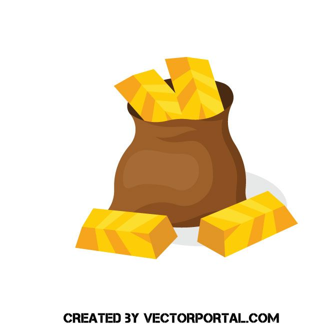 Gold Bars In A Bag Vector Image Gold Bar Vector Images Vector
