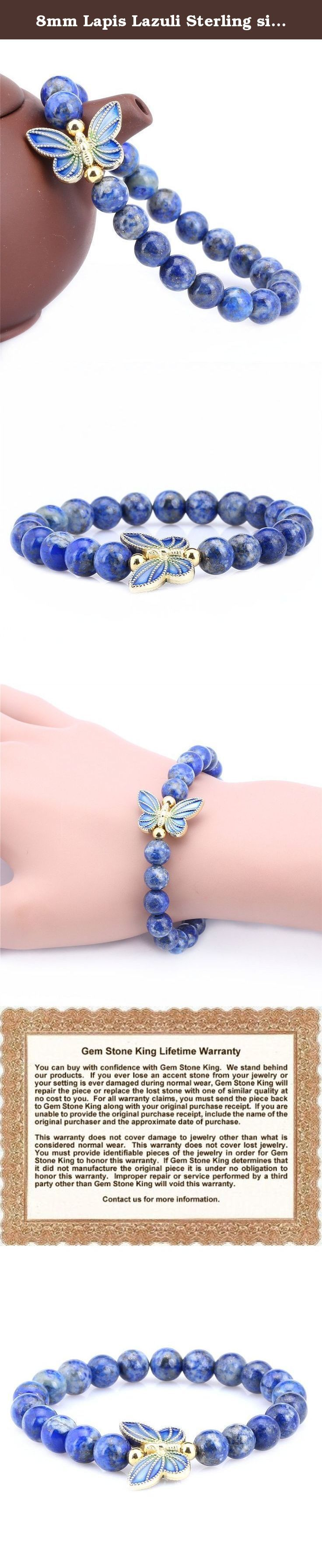 8mm Lapis Lazuli Sterling silver Cloisonne Enamel Butterfly Bracelet. This beautiful item is brand new and comes with complimentary gift packaging appropriately selected to match the item you purchased. The packaging ranges from dainty foam insert packaging to luxurious leather insert cherry wood boxes. Every order is fully insured regardless of value. This insurance protects you against damage or the loss of your item while in transit. The Shipping and Handling fees include the insurance…