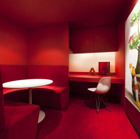 Red office inspiration  http://www.officedesigngallery.com