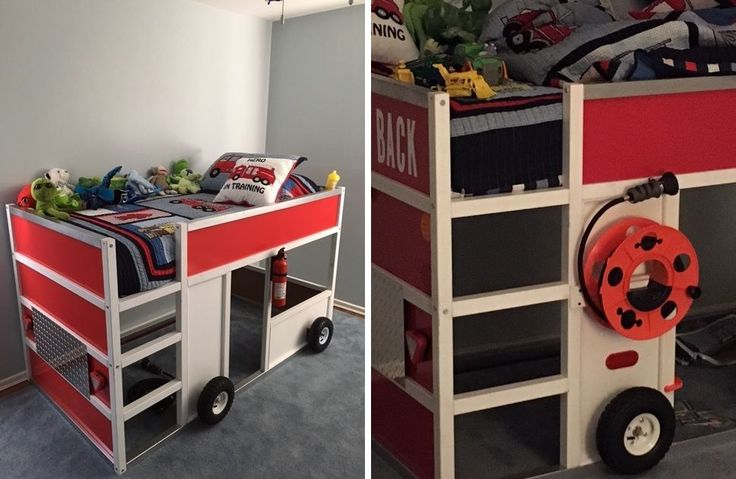 Kid friendly diys featuring the ikea kura bed more ikea bed and kura bed ideas - Ikea fire truck bed ...